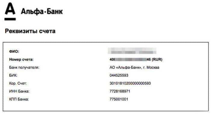 ИНН и обязательные реквизиты Альфа-Банка